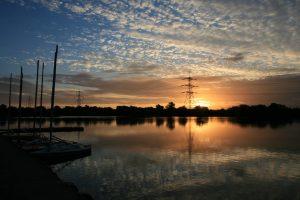 Sunset view of lagoon