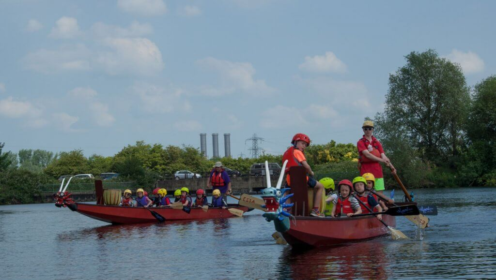Dragon boats with heads